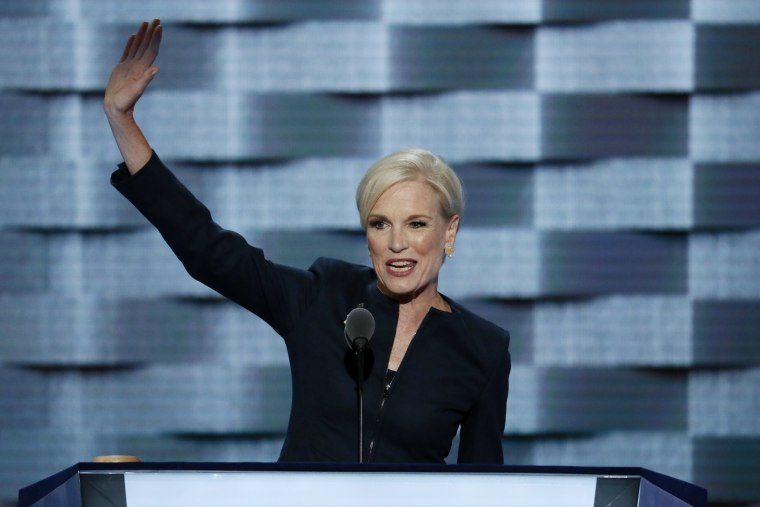 President of Planned Parenthood Action Fund Cecile Richards waves after speaking during the second day of the Democratic National Convention in Philadelphia on July 26.