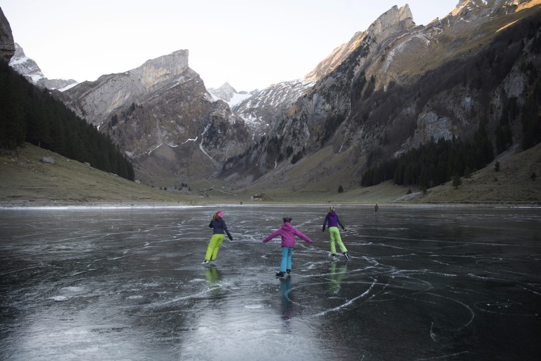Image: Frozen black ice of the Seealpsee, Switzerland