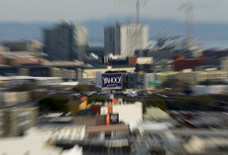 Image: A sign advertising internet company Yahoo is pictured in downtown San Francisco