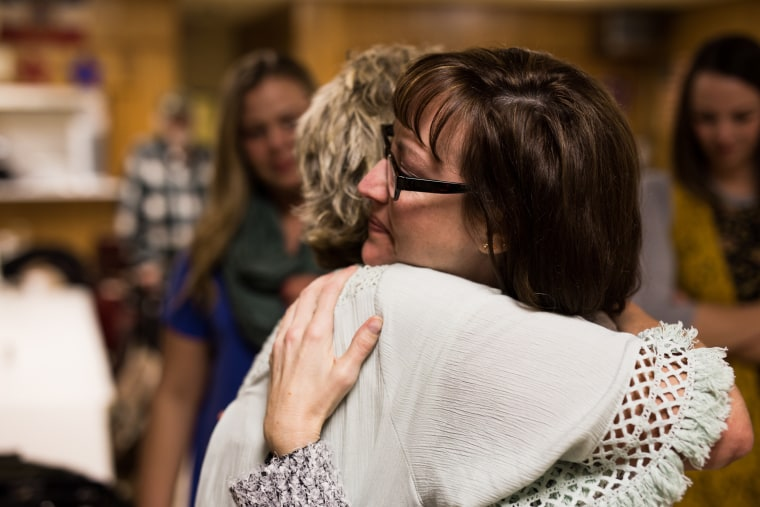Image: Mandy Martinson at a surprise welcome party in Mason City, Iowa on the day she was released from a halfway house.
