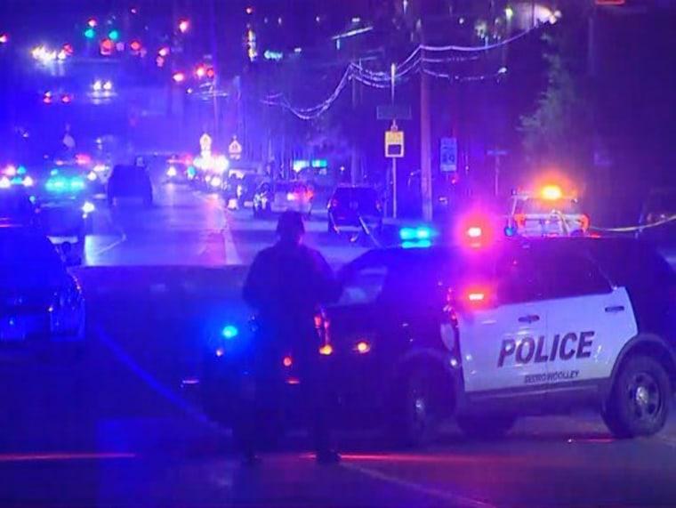 Image: Scene where a gunmen shot a police officer in the head in Washington