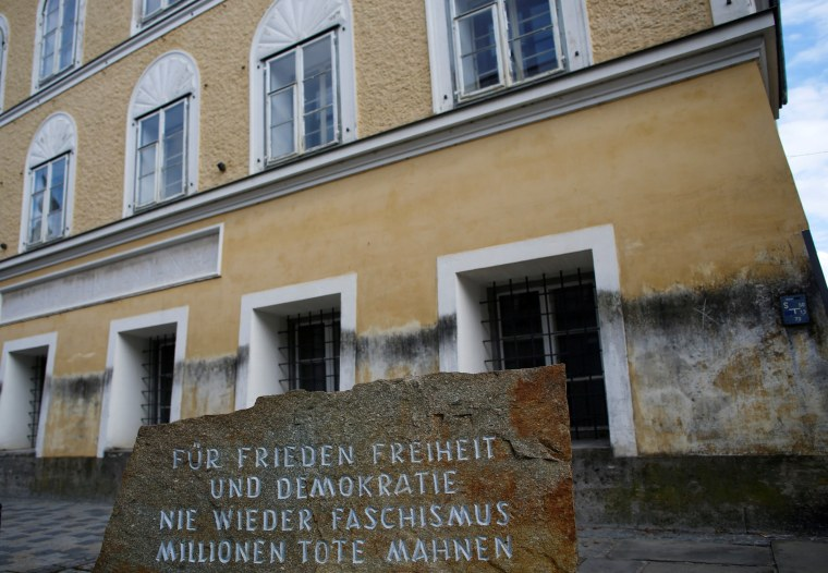 Image: A stone outside the house in which Adolf Hitler was born is pictured in Braunau am Inn
