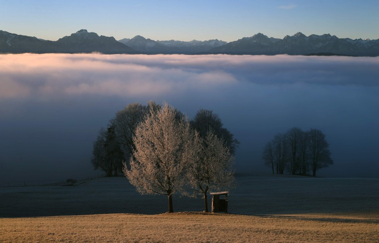 Image: The pre-Alpine region near Bernbeuren, southern Germany, is pictured during the sunrise on Dec. 16.