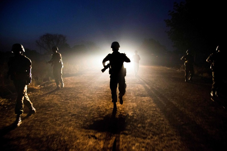 Image: Peacekeeper troops from Ethiopia and deployed in the United Nations (UN) Interim Security Force for Abyei (UNISFA) patrol at night in Abyei town, Abyei state, on Dec. 14, 2016.