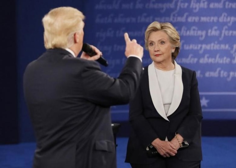 Trump speaks during the presidential town hall debate with Clinton at Washington University in St. Louis
