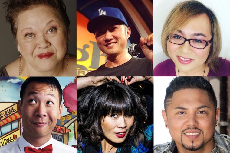 """Comedy InvAsian"" performers Amy Hill, Paul Kim, Robin Tran, Kevin Yee, Atsuko Okatsuka, and Joey Guila"