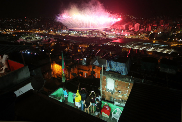 Image: YEAR IN FOCUS - NEWS (1 of a set of 85) Fireworks Explode Over Rio's Maracana Stadium During The 2016 Olympic Games Opening Ceremony