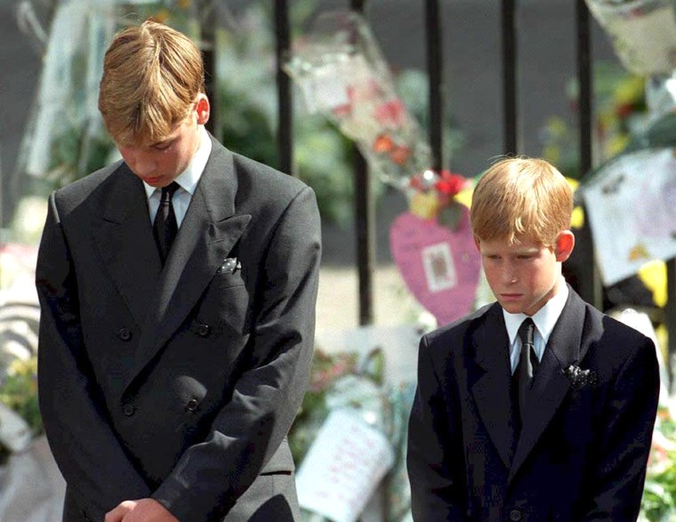 Prince William and Prince Harry at Princess Diana's funeral