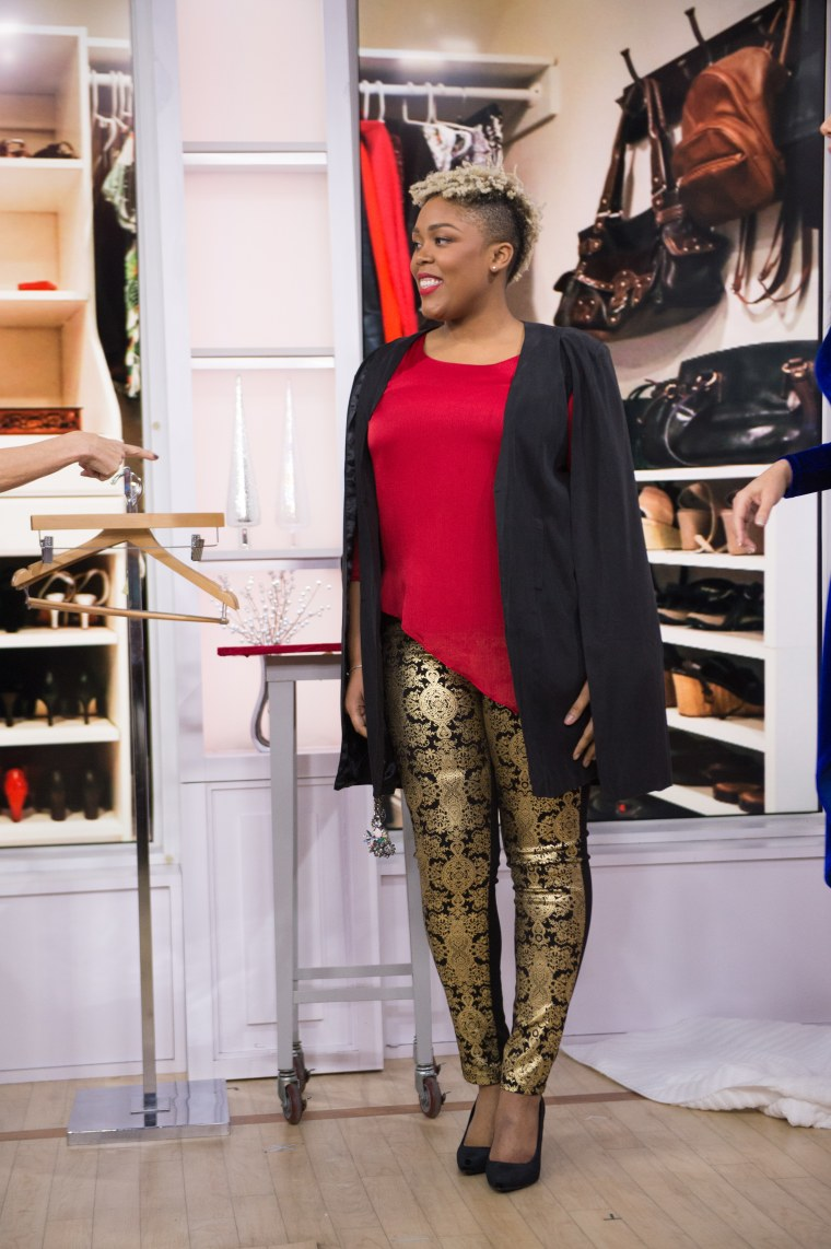 How to wear leggings to a holiday party