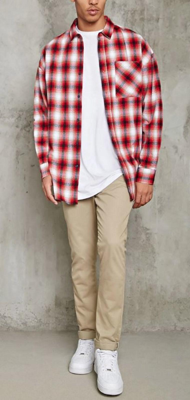 Slim-fit longline flannel shirt