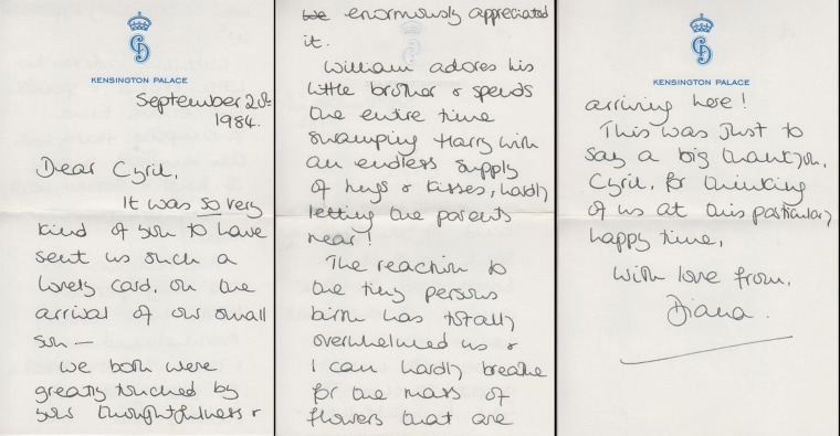Princess Diana letters to her friend Cyril Dickman, a steward at Buckingham Palace.