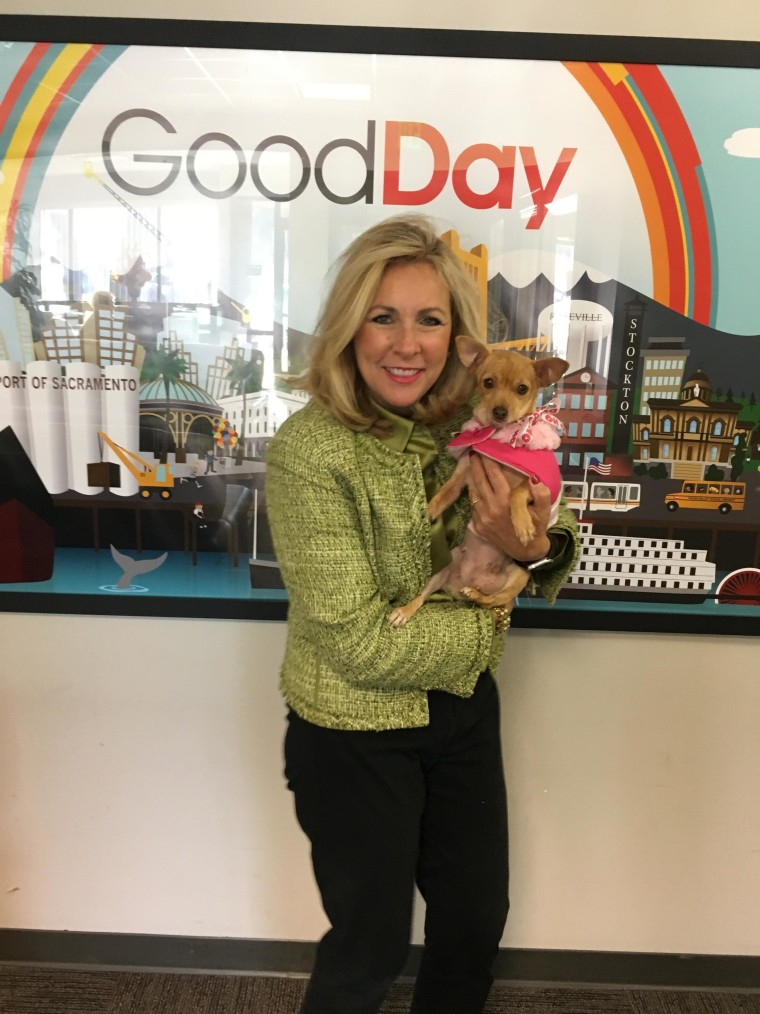 """It was love at first sight when Kim Pacini-Hauch met Mindy while filming a TV spot to promote """"Home for the Pawlidays."""""""