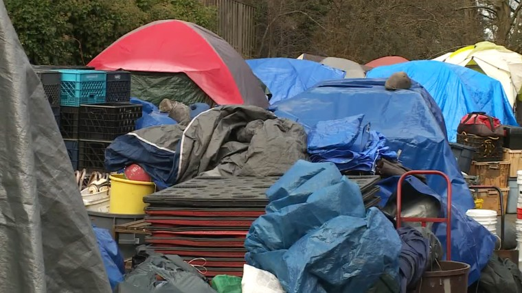 Image: A homeless encampment on the grounds of University of Washington