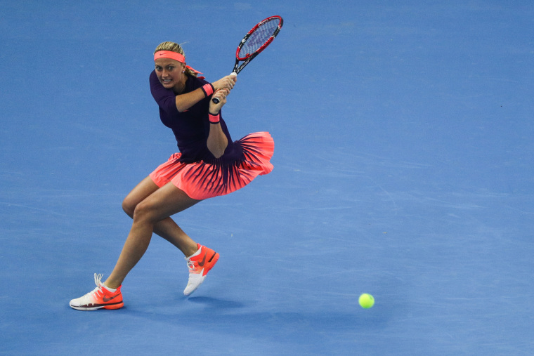 Image: Petra Kvitova of the Czech Republic returns a shot against Garbine Muguruza of Spain during the Women's singles third round match on day five of the 2016 China Open at the China National Tennis Center on Oct. 5, 2016 in Beijing, China.