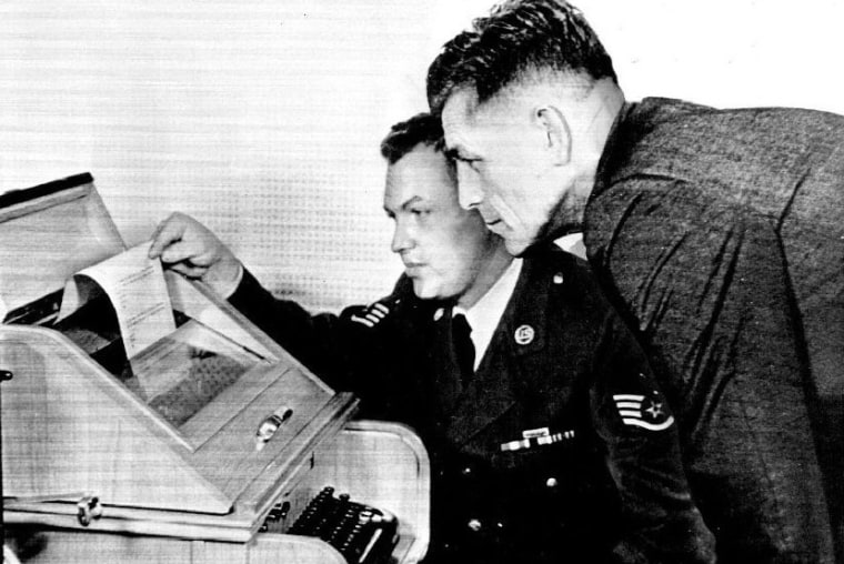 An Airman operates the hotline teletype with Moscow in the early 1960s.