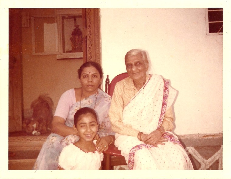 Nandita Godbole with her mother and grandmother on the family farm in India in 1980. Her grandmother, born Esther Isac Sankar, changed her name to Pramila Godbole after marriage.