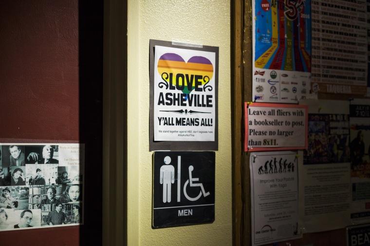 Image: A sign next to the men's bathroom inside Malaprop's Bookstore/Cafe in Asheville, North Carolina denounces North Carolina's HB2 legislation on June 21, 2016.