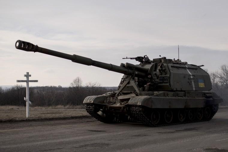 A Ukrainian howitzer moves near Debaltseve, eastern Ukraine, Feb. 8, 2015.