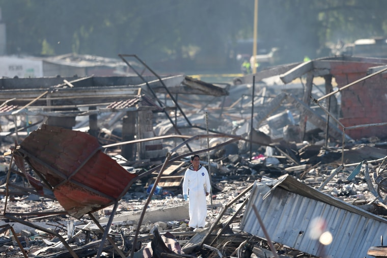 Image: An investigator stands amidst the wreckage of houses destroyed in an explosion at the San Pablito fireworks market in Tultepec