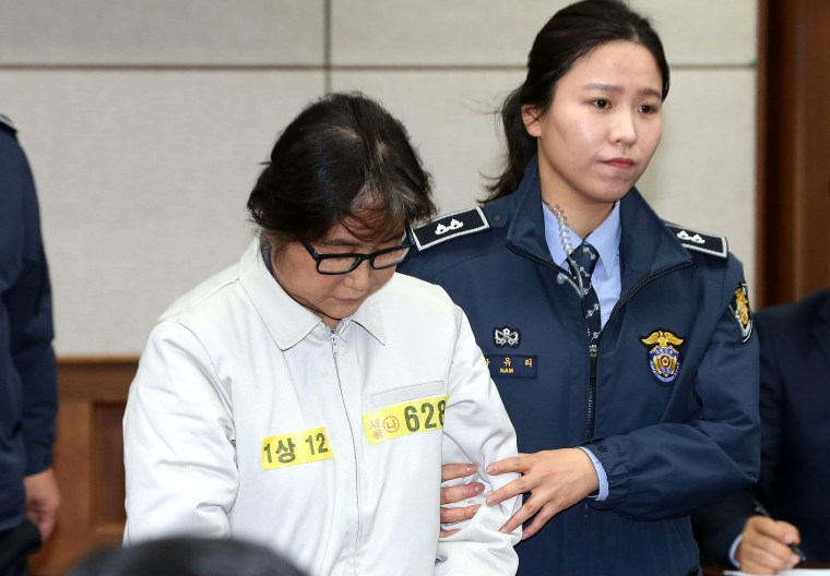 Image: Choi Soon-Sil, the jailed confidante of disgraced South Korean President Park Geun-Hye, pictured on Monday, the first day of her trial at the Seoul Central District Court.