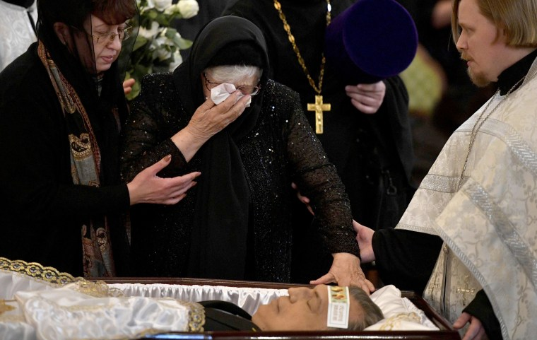Image: Maria, the mother of slain Russian ambassador to Turkey Andrei Karlov, cries at his body during the funeral ceremony at the Christ the Savior Cathedral in Moscow on Dec. 22.