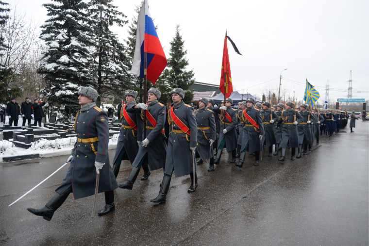 Image: The funeral of Russian Ambassador to Turkey Andrei Karlov at the Khimkinskoye cemetery.