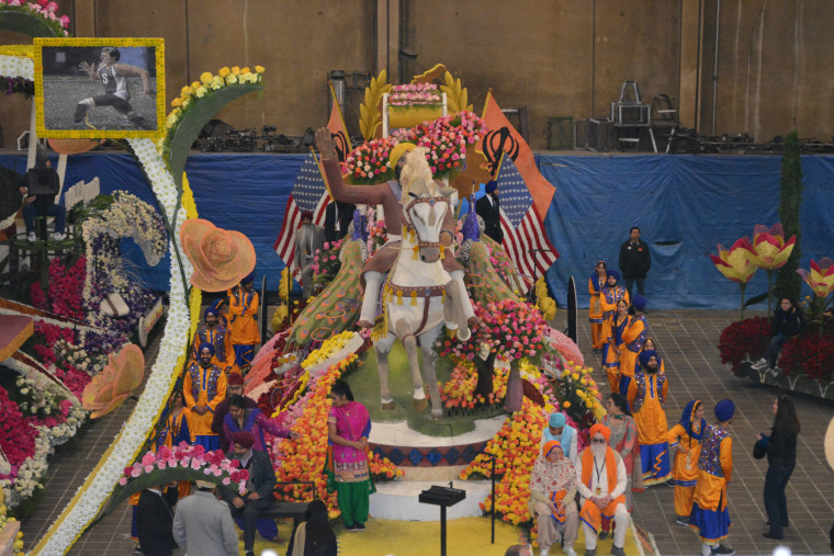 The Sikh-American float for the 2016 Rose Parade depicted the Punjabi harvest celebration of Vaisakhi with an image of a Sikh man with a beard and yellow turban riding a white horse.