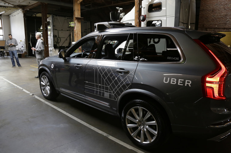 In this Tuesday, Dec. 13, 2016, file photo, an Uber driverless car is displayed in a garage in San Francisco. A fleet of self-driving Uber cars is headed to Arizona after they were banned from California roads over safety concerns.