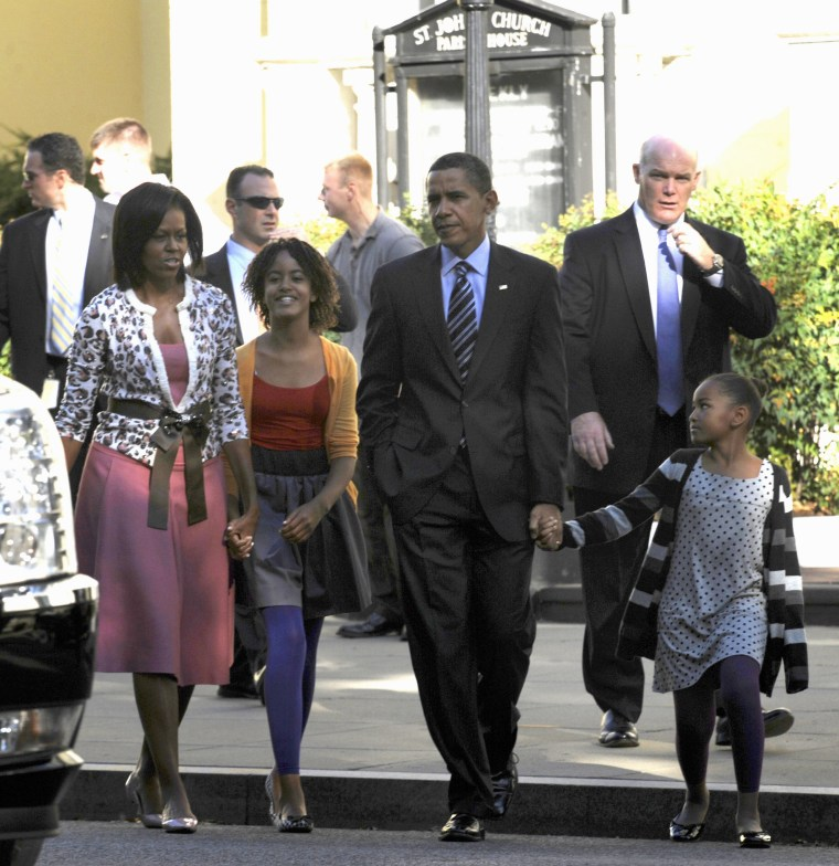 IMAGES: The Obamas outside church