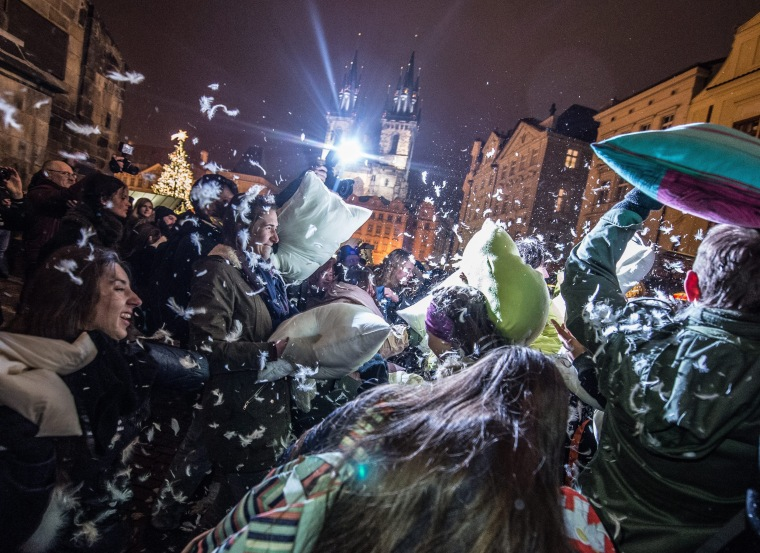 Image: Pillow fight in Prague