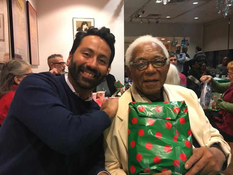 Jaime Davila (left) and Robert Brewster (right) celebrating the holidays