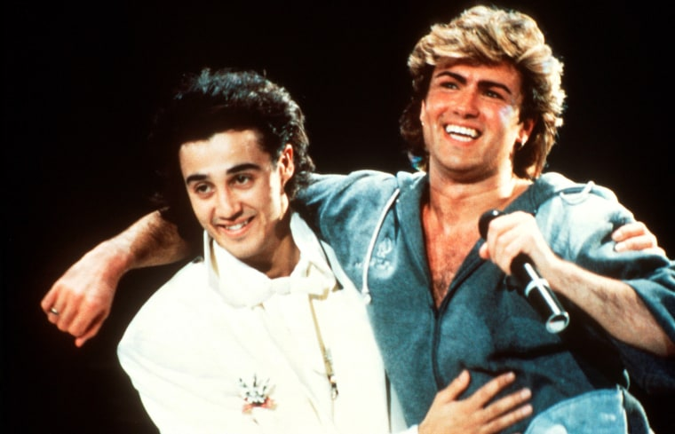 Image: Andrew Ridgeley and George Michael of Wham perform on stage in 1985