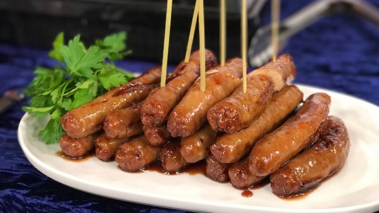 3-Ingredient Maple-Cranberry Glazed Sausages