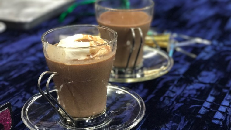 Slow-Cooker Hot Chocolate with Frozen Whipped Cream Dollops