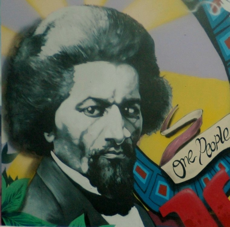 "Frederick Douglas featured in the ""One People One Community Building Together"" mural in Washington, D.C. by artist Aniekan Udofia."
