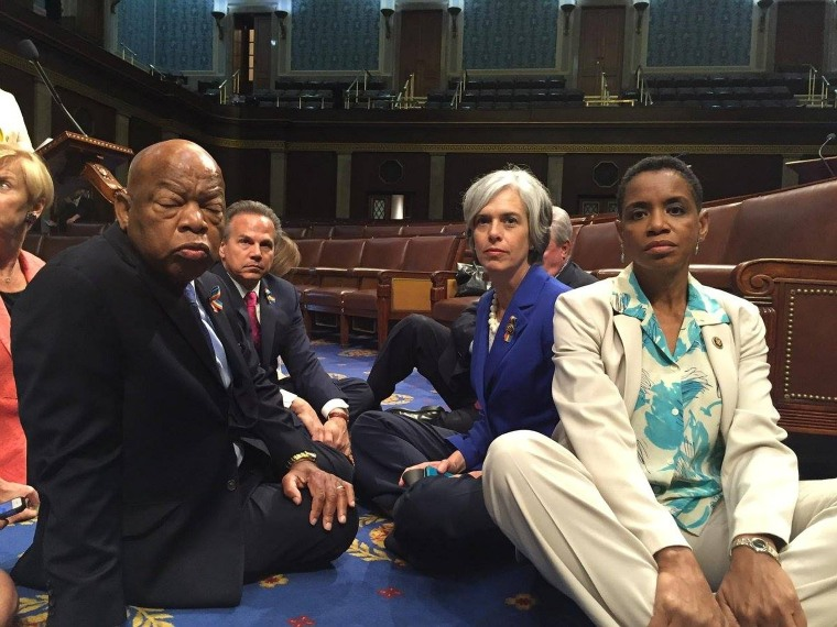 House Democrats, including civil rights leader and Democratic Georgia Rep. John Lewis, stage a sit-in on the House floor in June to demand gun control legislation.