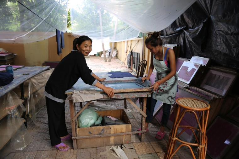 Workers at the tonl? workshop in Cambodia during from Remake. Tonl? designs and creates zero-waste clothing.