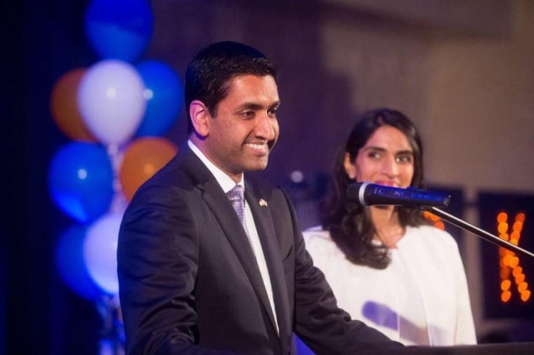 Rep. Ro Khanna, D-Calif., addresses a victory party on Election Night.