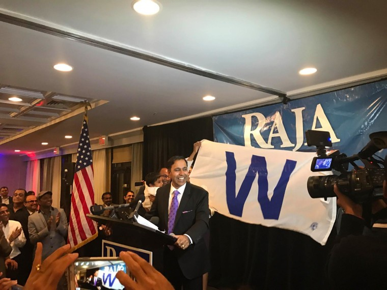 Raja Krishnamoorthi, who will represent Illinois' 8th Congressional District, speaking at his Election Night party.