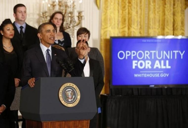 U.S. President Barack Obama talks before signing a Presidential Memorandum at the White House in Washington