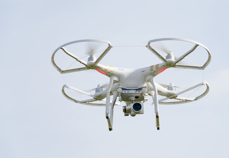 Image: White drone flying