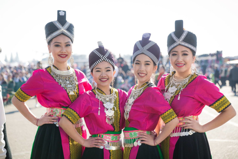 Hmong-American women in traditional clothing at the 2015 Hmong International New Year in Fresno, California.