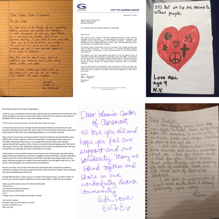 Several letters collected by AMP Global Youth to send to mosques who have received negative messages.