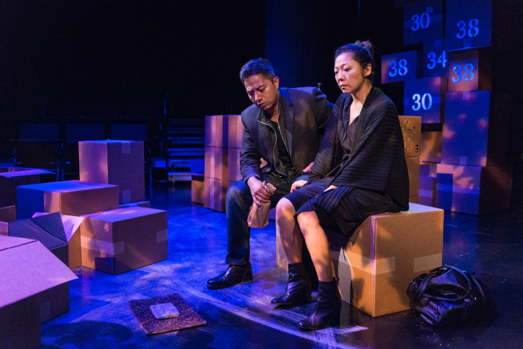 """A picture from Mu Performing Arts' September 2016 production, """"Two Kids That Blow Shit Up,"""" starring Sun Mee Chomet (right) and Sherwin Resurreccion (left)."""