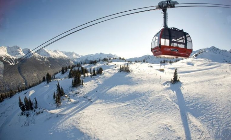 The Peak 2 Peak gondola passes between Whistler and Blackcomb mountains in Whistler