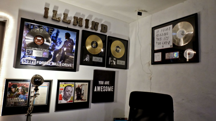 Memorabilia, including Gold and Platinum Record certifications by the RIAA, from Ibanga's career.