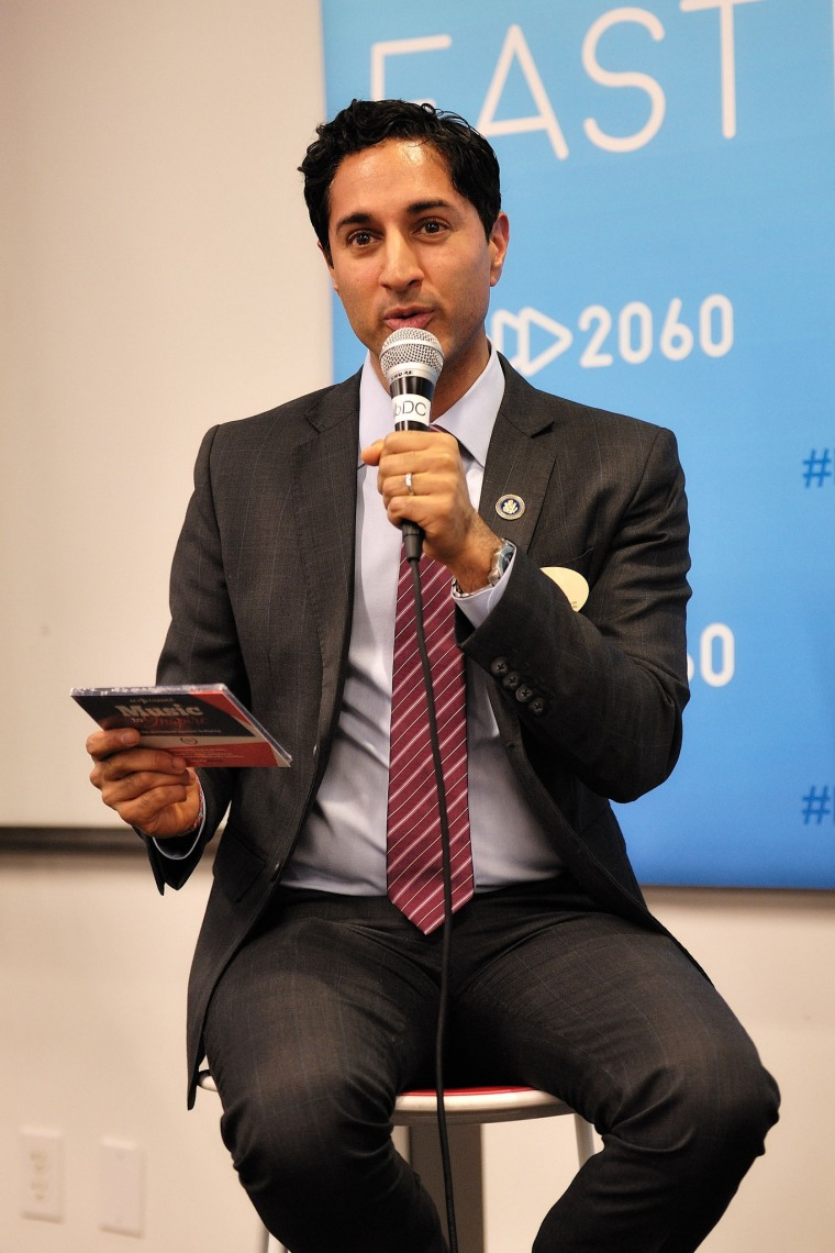 "Maulik Pancholy discussing the ""#ActToChange"" album at Fast Forward 2060 event in Washington, D.C."