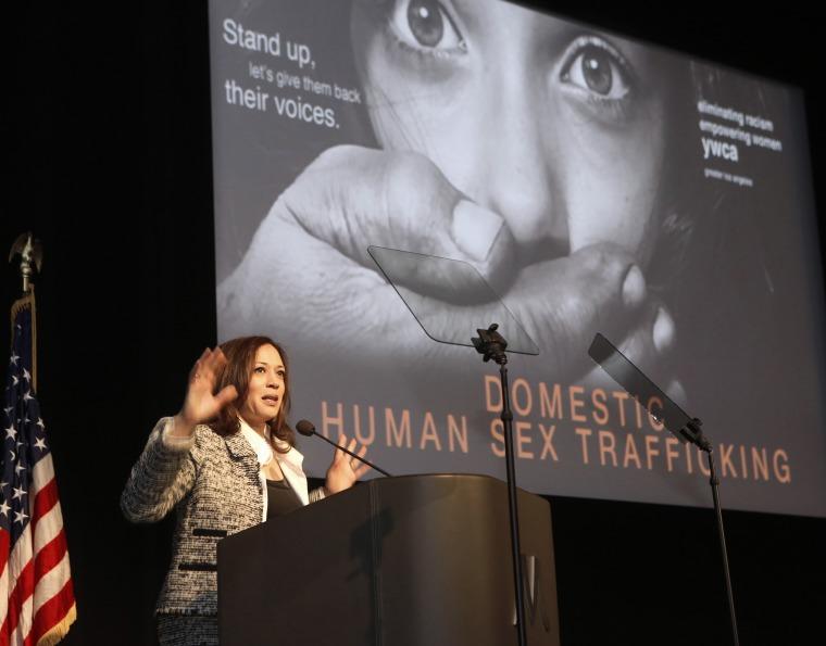 Image: California Attorney General Kamala Harris addresses the Domestic Human Trafficking symposium in Los Angeles