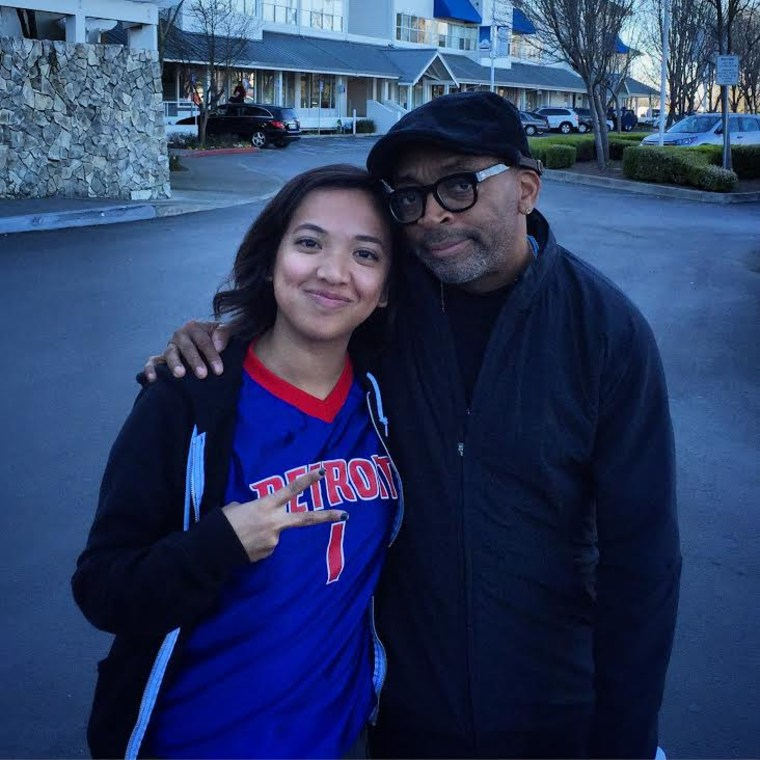 "Jess dela Merced with filmmaker Spike Lee, who mentored dela Merced during the production of ""Hypebeasts"""