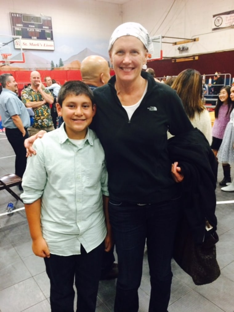 LAPD Commander Anne Clark photographed with her son while she underwent treatment for Hodgkin's Lymphoma in late 2014.